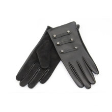 pigsuede palm +PU hand back  women leather gloves Metal nail design and super soft fur handfeeling