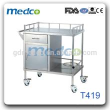 T419 Matériel en acier inoxydable équipement médical chariot