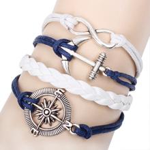 Vintage metal compas rudder anchor retro handmade infinity bracelet DIY blue leather cord bracelet bestfriend bracelet wholesale