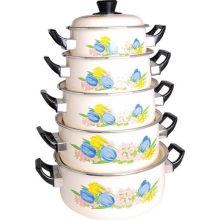 5 PCS Set Cazuela de esmalte con tapa de baquelita