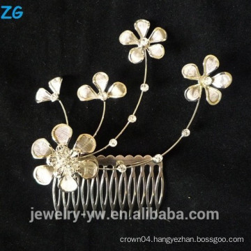 High quality gold plated lucky flower bridal combs elegant metal hair combs