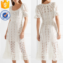 White Lace Short Sleeve Curved Neckline Midi Summer Dress Manufacture Wholesale Fashion Women Apparel (TA0266D)
