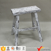Hecho a mano chino rectangular de madera rústica taburete blanco