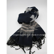 100% Акриловое качество Navy Striped Woven Scarf with Fringe