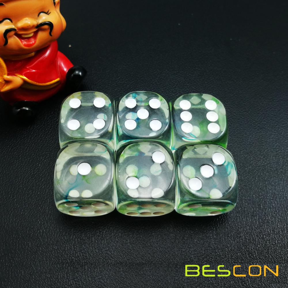 Two Tone Nebula Game Dice Set of 6, Crystal Clear with Green and Blue Nebula Six Sides Die 16MM, 6pcs Dice Set