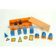 Montessori Materialien - Blaue Geometrische Solids mit Box (Buche)