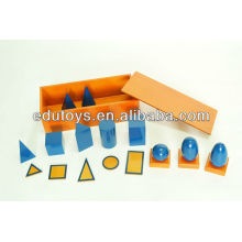 Материалы Монтессори - Голубые геометрические твердые тела с коробкой (Beechwood)