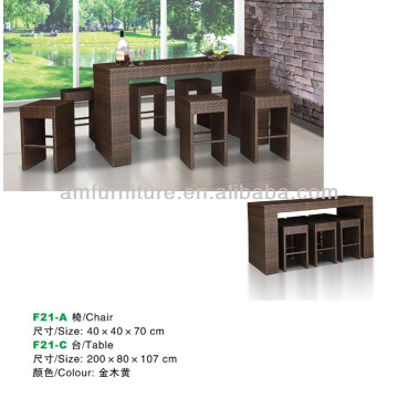 dining table and chair made of rattan