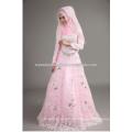 2015 nouvelle arrivée perlée appliqued en gros à prix bon marché en dentelle rose à manches longues robe de mariée musulmane avec hijab CCWFw02