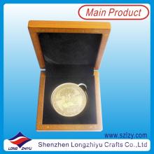 2015 moedas de ouro com caixa de moeda de madeira