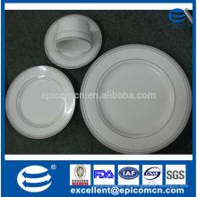 2014 grande estoque de qualidade de dinnerware cerâmica 41pcs com decoração de borda de prata real