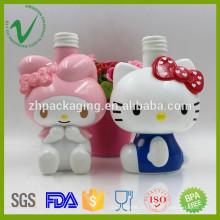 La botella plástica de encargo de alta calidad del champú vacío de los PP con la insignia