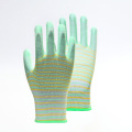 EU Standard Striped Polyester PU Gloves