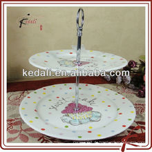 Heißer Verkauf weißer keramischer Kuchenstandplatz für Hochzeit