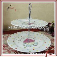 Soporte de cerámica blanco de la torta de la venta caliente para la boda