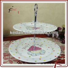 Hot sale white ceramic cake stand for wedding