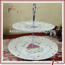 Горячая продажа белый керамический торт стенд для свадьбы