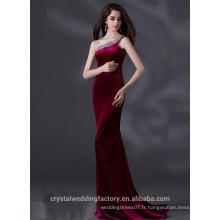 Alibaba Élégant Long Nouveau Designer Une épaule Robe violet couleur satin satin Robes de soirée ou Robe de demoiselle d'honneur LE22