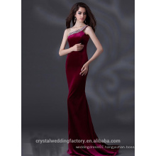 Alibaba Elegant Long New Designer One Shoulder Purple Color Light Satin Sheath Evening Dresses Or Bridesmaid Dress LE22