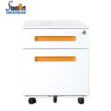 Cabinet mobile en acier de bureau moderne de 2 drtawer / coffret mobile coloré de poignée