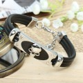 Fashion Punk Style jewelry zinc alloy leather cord Bracelets wholesale with skull head New Design