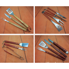 Wood handle barbecue tools set outdoor equipment