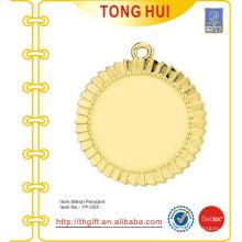 Shinny oro redondo placa encanto colgantes llavero metal