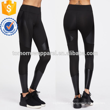 Black Contrast Pu Cut And Sew Sports Leggings OEM/ODM Manufacture Wholesale Fashion Women Apparel (TA7043L)