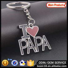 Custom Metal I Love Papa Letter Keychain for Promotion Gift
