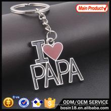 Изготовленный на заказ металл я люблю папа письмо keychain для подарка Промотирования