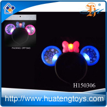 2014 Fuuny kid's festival flashing led light up jouet, léger plastique mickey hairpin toy à vendre H150306