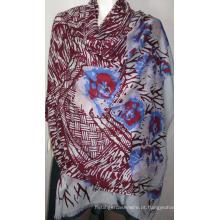 100% de lã de erva-preto Shawl Print Na