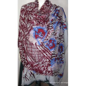100% Wolle Heringbone Schal Print Na