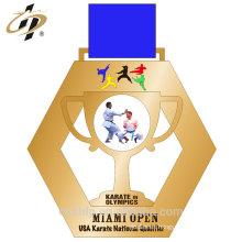 Decoración casera aleación de zinc fundición personalizada medalla de metal de oro deportivo con cinta
