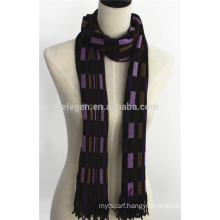 Men 100%Wool Warp Knitting Check Plaid Scarf