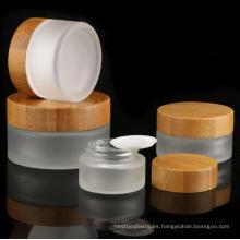 Hot selling bamboo small cosmetics jar, plastic acrylic cream jar 15ml 30ml 50ml 100ml