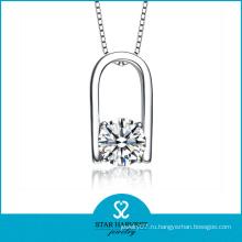 В форме сердца стерлингового серебра ожерелье для женщин (Н-0089)