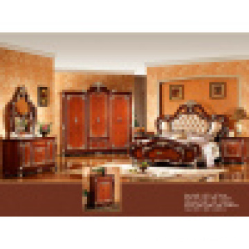 Classic Bedroom Set with Antique Bed and Wardrobe (W815)