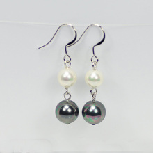 White and Black Rainbow Drop Pearl Earrings