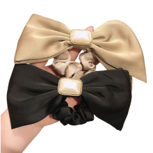 Korean Solid Fabric Pearl Bow Knot Scrunchies Hair Tie Elastic Band Ring Cute Girl Ponytail Head Rope Rubber