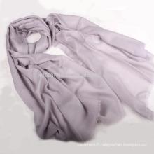 Echarpe pashmina brodée couleur unie 100% cachemire