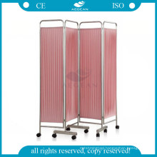 AG-SC001 Movable hospital room metal frame fabric folding screen