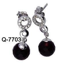 925 Art- und Weisesilberne Ohrringe mit großem Zircon (Q-7703 JPG)