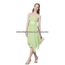 HC2302 Simple green strapless sleeveless satin band asymmetrical hem knee length zipper back cheap handkerchief evening dress