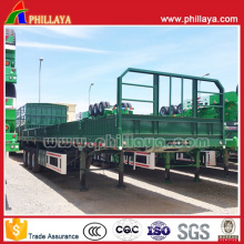 3axles Flatbed Cargo Truck Trailer with Sidewalls and Container Locks