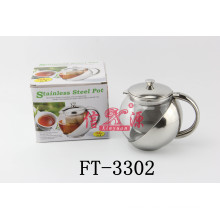 Stainless Steel Round Glass Tea Pot (FT-3302-XY)
