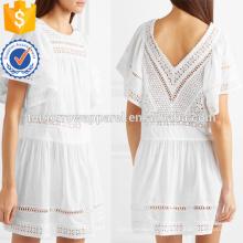 Свободная посадка с коротким рукавом Белый хлопок мини-летнее платье Производство Оптовая продажа женской одежды (TA0246D)