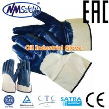 Luva de óleo e gás NMSAFETY / luvas de trabalho manual revestidas com nitrilo / luvas de nitrilo lisas