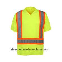 Hi Vis Reflective Safety Work T-Shirt mit V-Ausschnitt