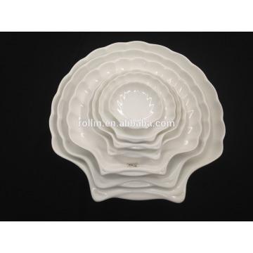 Hotel & Restaurant placas de cerámica blanca, forma de concha Platos de inmersión cerámica al por mayor, porcelana